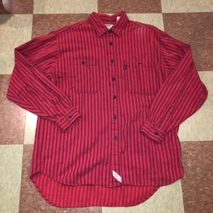 Vtg Levi's striped button up red shirt lg